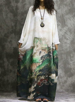 Print Batwing Sleeve Long Plus Size Dress