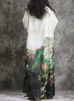Vintage Print Batwing Sleeve Plus Size Dress