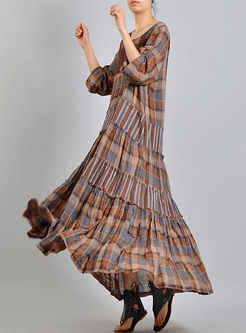 Ethnic Plaid Splicing Layered Plus Size Dress