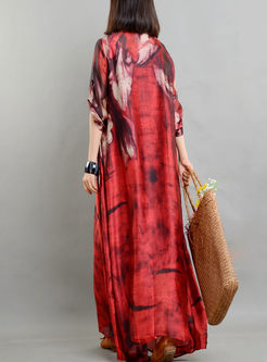 Red Ethnic Print Arcadian Shift Dress With Camis