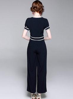 Brief Striped V-neck Top & Wide Leg Pants