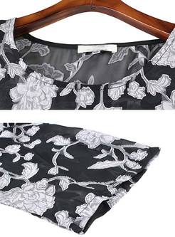 Loose Flower Print Shift Dress