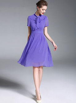 Solid Color Tied Bowknot Waist A Line Dress
