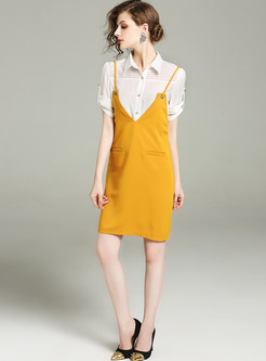 Brief Lapel Blouse & Slim Slip Dress