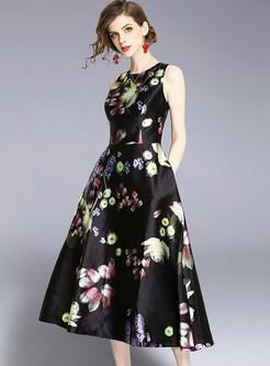 Ink Print Sleeveless Party Dress