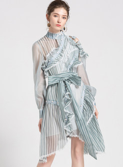 Sexy Striped Belted Falbala Asymmetric Dress