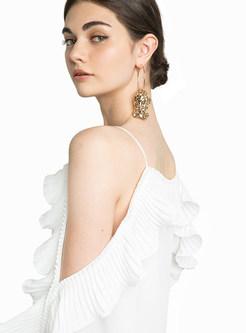 White Off The Shoulder Petal Sleeve Dress
