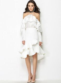 White Chic Asymmetric Bodycon Skirt