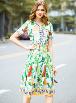 Green Fashion Print Slim Skater Dress