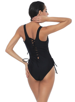 Black One Piece Swimsuit Tied Hollow For Women