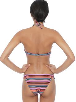 Ethnic Striped Print Bikini