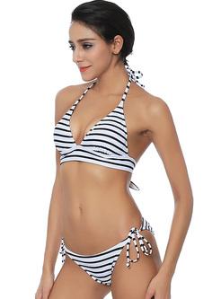 Brief Striped Tied Two Pieces Bikini