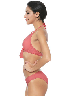 Pink Tied Straped Neck Bikini