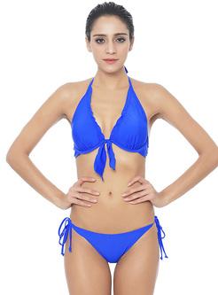 Blue Straped Neck Two Pieces Brazilian Bikini
