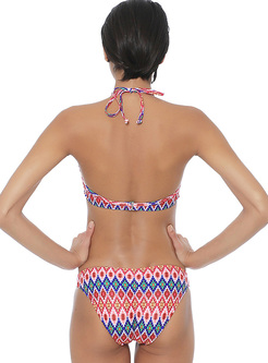 Fashion Print Straped Triangle Bikini