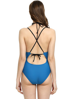 Brief Blue Slimming Tummy Control One Piece Swimwear