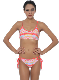 Brief Print Adjustable Tied Two Pieces Swimsuit