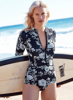 Casual Floral Print One Piece Swimming Custome