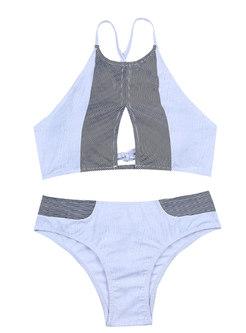 Brief Color-blocked Tied Bikini Sets