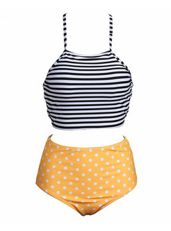 Retro Dot Striped High Waisted Bikini
