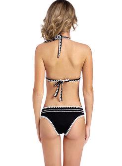 Ethnic Color-blocked Triangle Crochet Bikini