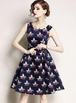 Stylish Floral Print Sleeveless A Line Dress