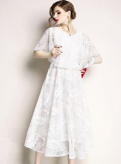 White Embroidered Lace Big Hem Maxi Dress