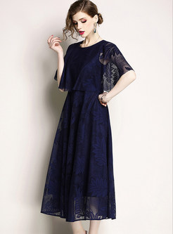 Blue Embroidered Half Sleeve Lace Maxi Dress