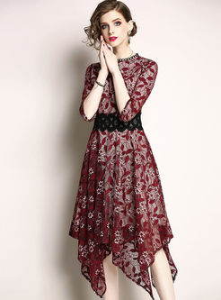 Red Lace Gathered Waist Skater Dress