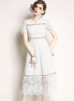 White Fashion Short Sleeve Lace Dress
