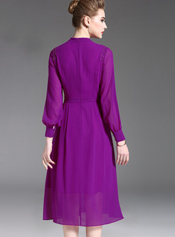 Purple Brief The Waist A Line Dress