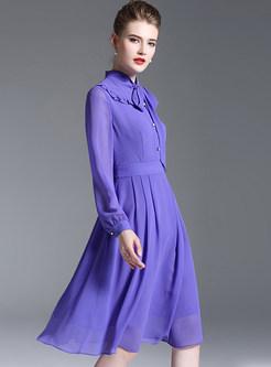 Purple Stringy Selvedge Bowknot A Line Dress