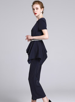 Work Slim Striped Wide Leg Jumpsuit