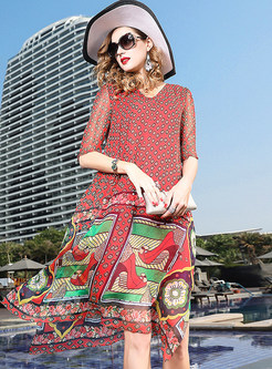 Ethnic Print Large Size Silk Dress