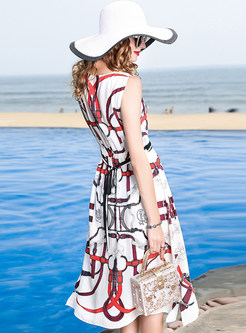 Brief Waisted Sleeveless A Line Dress