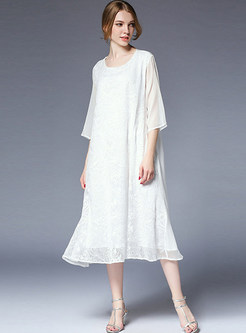 White Silk Embroidered Shift Dress