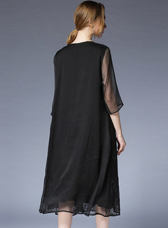 Black Loose Silk Embroidered Shift Dress