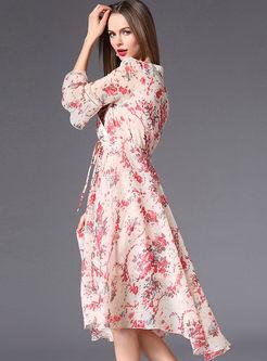 Pink Printing Flare Sleeve Chiffon Dress