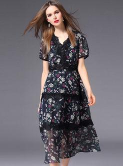 Lace Stitching Floral Print Chiffon Dress
