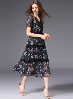 Lace Stitching Floral Print Chiffon Dress