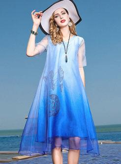 Silk Elegant Print Plus Size Shift Dress