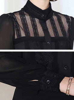 Black Court Stand Collar Blouse