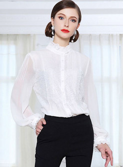 Silk Stringy Selvedge Stand Collar Blouse