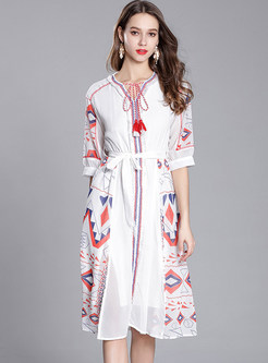 White Geometry Pattern Print Chiffon Dress