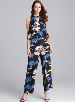 Sexy Silk Printing Sleeveless Jumpsuit