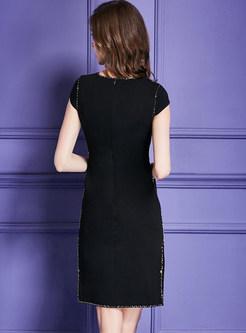 Black Nail Bead Slit Party Dress