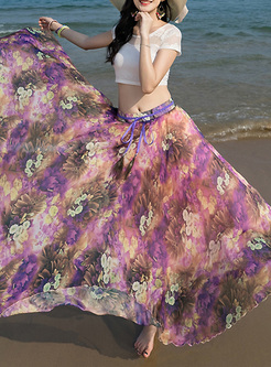 Bohemia Flower Print High Waist Skirt