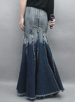 Vintage Denim Slim Edging Mermaid Skirt