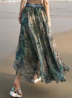 Bohemia Flower Print High Waist Skirt