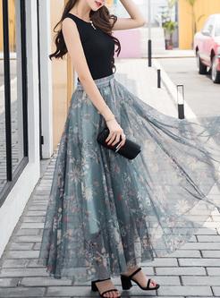 Chic Mesh Print Perspective BOHO Skirt